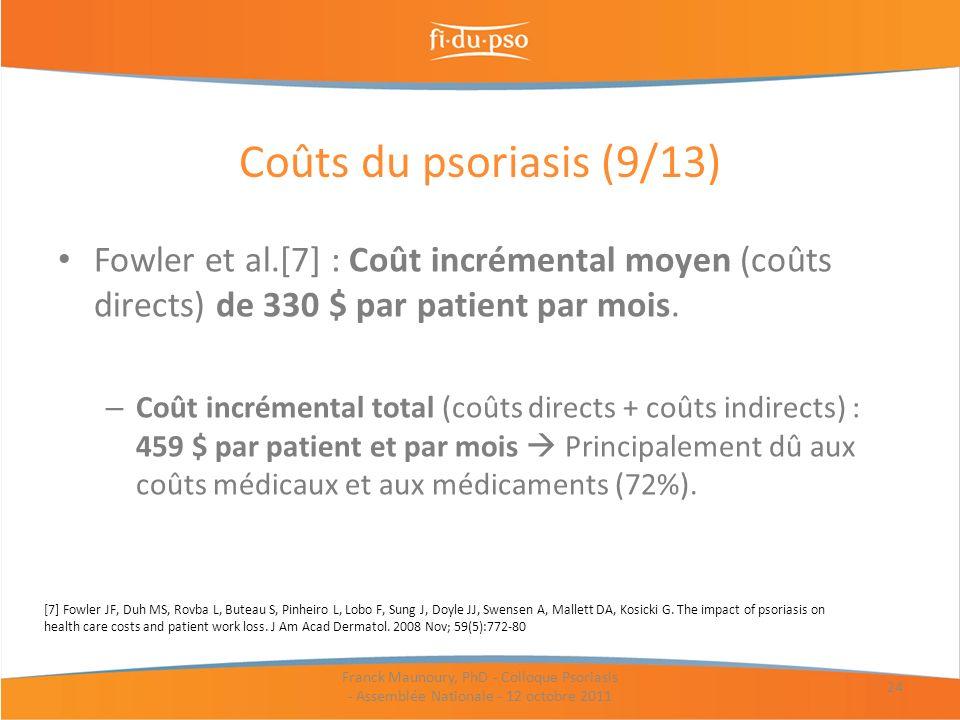 Coûts du psoriasis (9/13) Fowler et al.[7] : Coût incrémental moyen (coûts directs) de 330 $ par patient par mois.